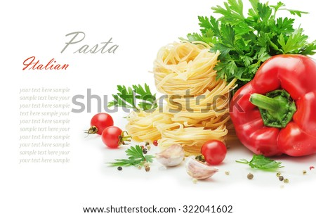 Ingredients for cooking pasta, Italian food, raw uncooked Lasagnette, Tagliatelle, vegetables and spices isolated on white background - stock photo