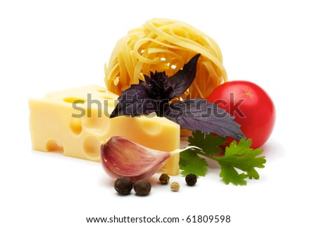 Ingredients for cooking pasta with cheese and tomato sauce. Isolated on white background.