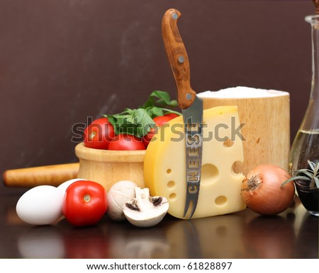 Ingredients for cooking pizza. - stock photo