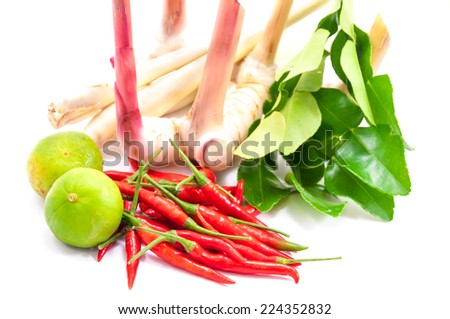 Ingredients For Cooking 'Tom Yum' Dish Chili Hot Spicy Soup Thai Popular Famous Food isolated on white background.   - stock photo