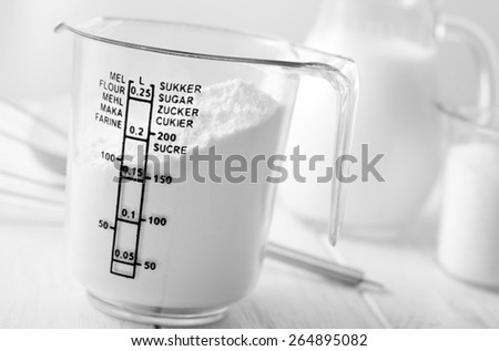 ingredients for diugh, flour and sugar - stock photo