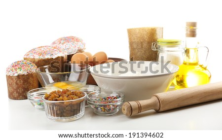 Ingredients for Easter cake isolated on white
