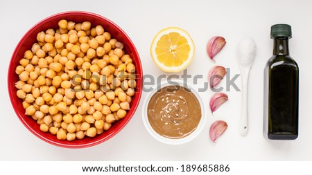 ingredients for home made hummus recipe - stock photo