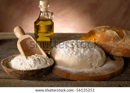ingredients for homemade bread - stock photo