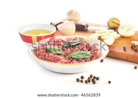 Ingredients for  homemade cutlet, ground beef and eggs