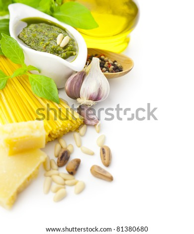 Ingredients for Italian cooking  -  pesto and pasta / frame composition / isolated on white - stock photo