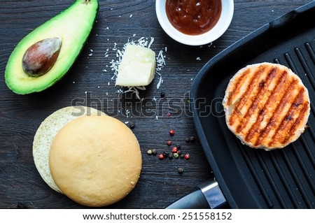 Ingredients for making fish burger at home - stock photo