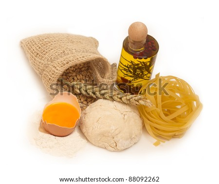 ingredients for making pasta - stock photo