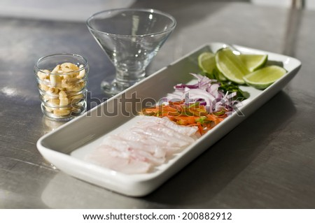 Ingredients for peruvian ceviche. Selective focus 2 - stock photo