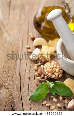 ingredients for pesto sauce - stock photo