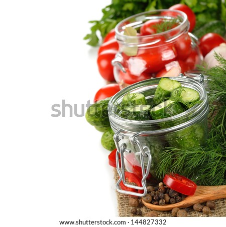 Ingredients for pickling cucumbers on a white background - stock photo