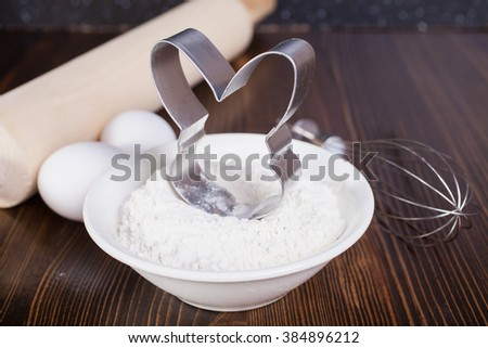 ingredients for preparation of a sweet hare, selective focus