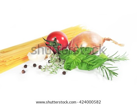 Ingredients for Spaghetti with tomato sauce, isolated on white background - stock photo