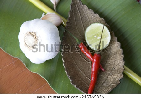 ingredients for thai food put on banana leaf