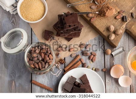 ingredients for the cake of cocoa - stock photo