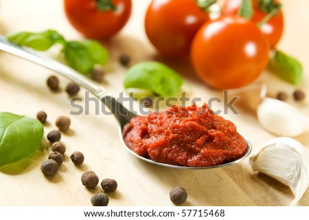 Ingredients for tomato sauce - stock photo