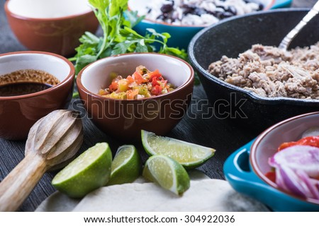 Ingredients for traditional mexican burrito, overhead view - stock photo