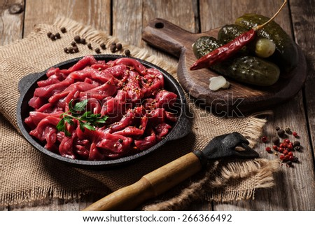 Ingredients for traditional tatar stew (azu) - stock photo