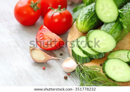 Ingredients for vegetable salad with spices