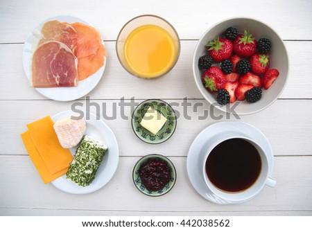 ingredients of a tasty breakfast - stock photo