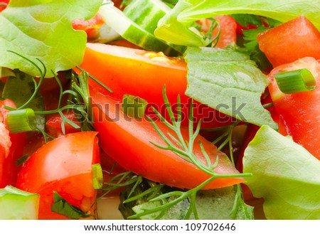 ingredients of fresh vegetable salad closeup, red tomatoes and green salad leaves - stock photo
