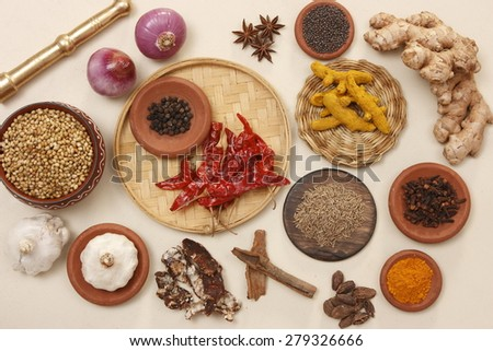 Ingredients of Rajasthani cuisine - stock photo