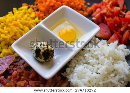 Ingredients of Thai fried rice. - stock photo