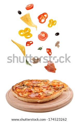 Ingredients products. Tasty pizza. - stock photo