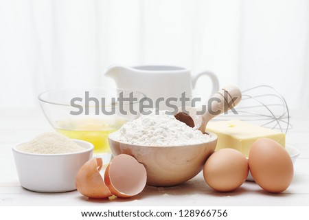 Ingredients to make a Cake - stock photo
