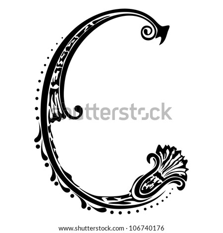 Initial letter C on a white background - stock photo