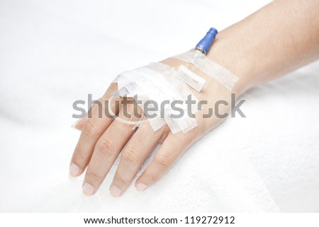 injection in hand - stock photo