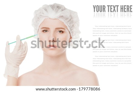 Injection in the female face. Eye and eyebrow zone. Isolated on white