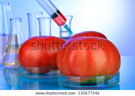 Injection into fresh red tomato on blue background - stock photo