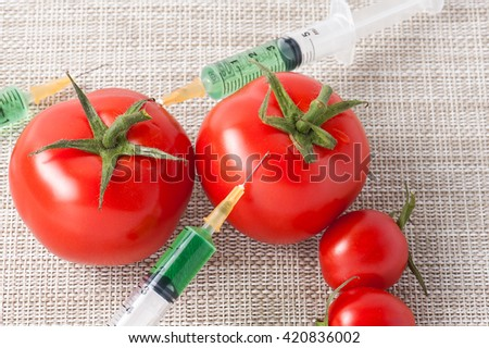 Injection into red tomato - Concept for Genetically modified fruit and syringe with colorful chemical GMO food - stock photo