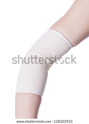 Injured elbow wrapped with a medical bandage