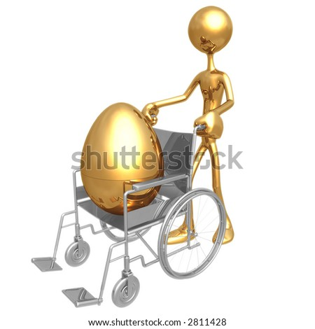 Injured Gold Nest Egg In A Wheelchair - stock photo