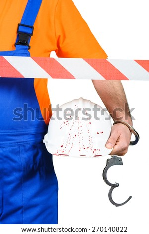 injured laborer at accident scene hard hat with blood on the white background - stock photo