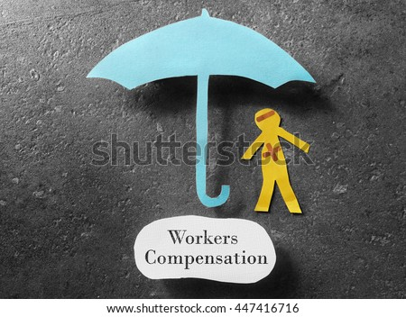 Injured paper man under an umbrella with Workers Compensation message