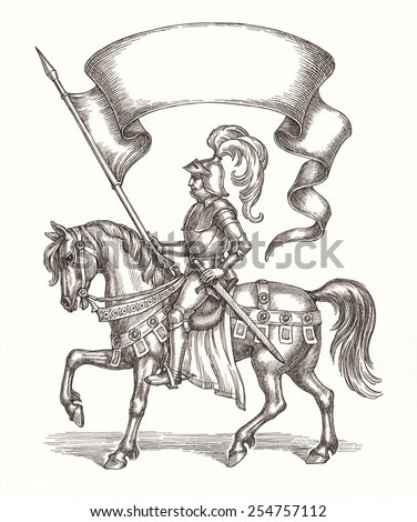 Ink and pen drawing, knight on a horse with a flag. - stock photo