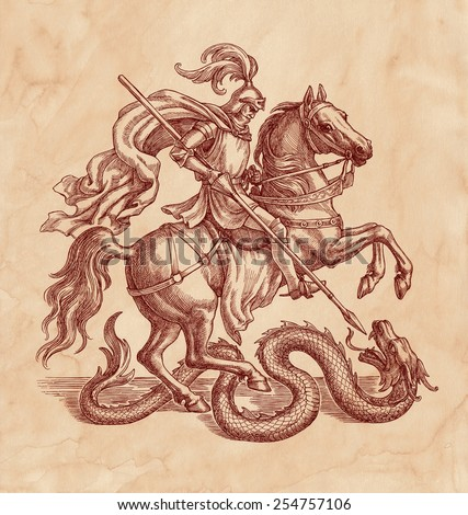 Ink and pen drawing, knight slaying a dragon, on old paper background. - stock photo