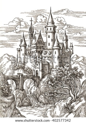 ink and pen drawing medieval castle in mountains