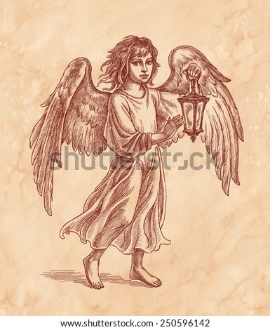 Ink and pen hand drawing, angel with lantern on brown old paper. - stock photo