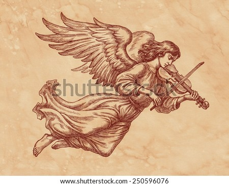 Ink and pen hand drawing, angel with violin on brown old paper. - stock photo