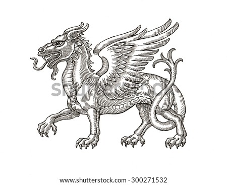 Ink and pen hand drawing of mythological animal, dragon. Illustration in vintage style. - stock photo