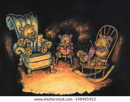 Ink and watercolor illustration of a family of three bears sitting together on chairs in their den, lit by firelight. - stock photo