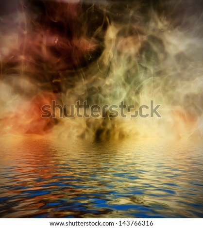 Ink background reflected in water surface. Conceptual photo.
