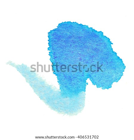 ink blot abstraction blue - stock photo