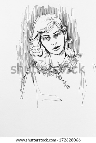 Ink drawing female portrait sketch character illustration on paper - stock photo