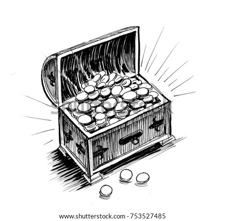 ink drawing treasure chest golden coins stock illustration 753527485