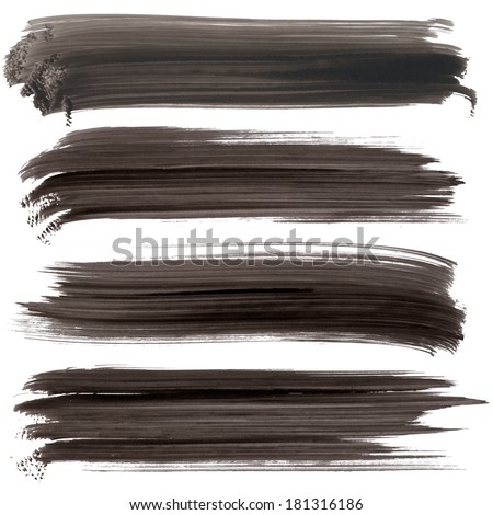Ink hand painted lines/banners with hard edges. Isolated. Made myself. - stock photo